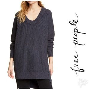 Free People Sunday V-Neck Sweater in Charcoal